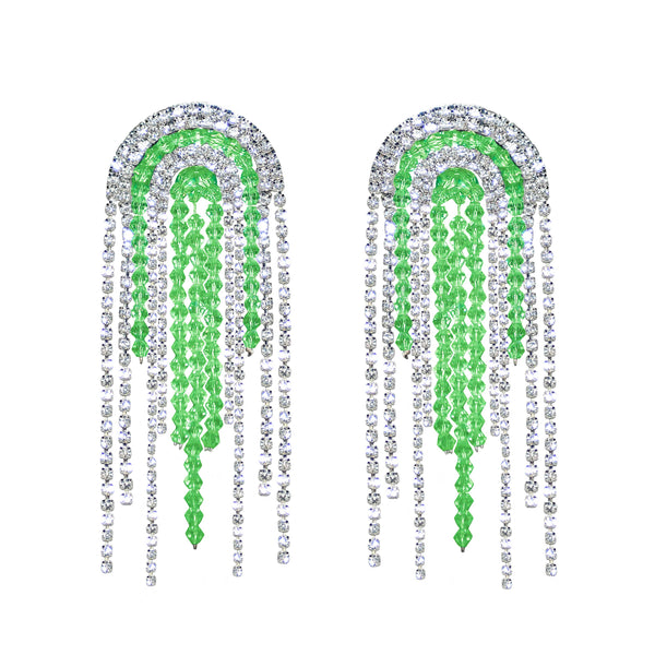 Crystal Green Rhinestone Statement Earrings - Marble Hive
