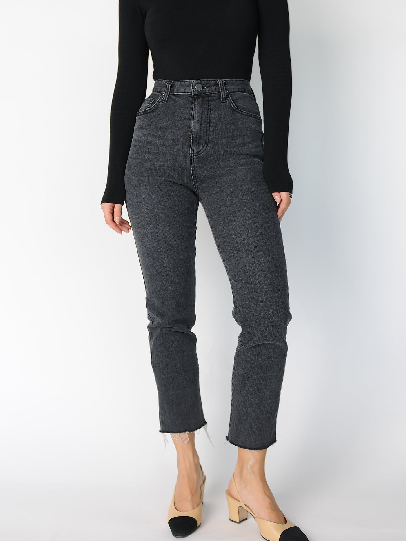 Grey High Waisted Jeans - Marble Hive