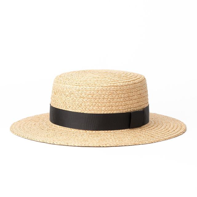Black Thin Ribbon Boater Hat - Marble Hive