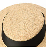 Wide Black Ribbon Boater Hat - Marble Hive
