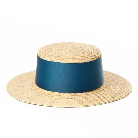 Wide Blue Ribbon Boater Hat - Marble Hive