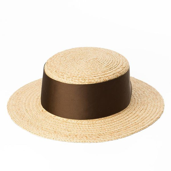 Wide Brown Ribbon Boater Hat - Marble Hive