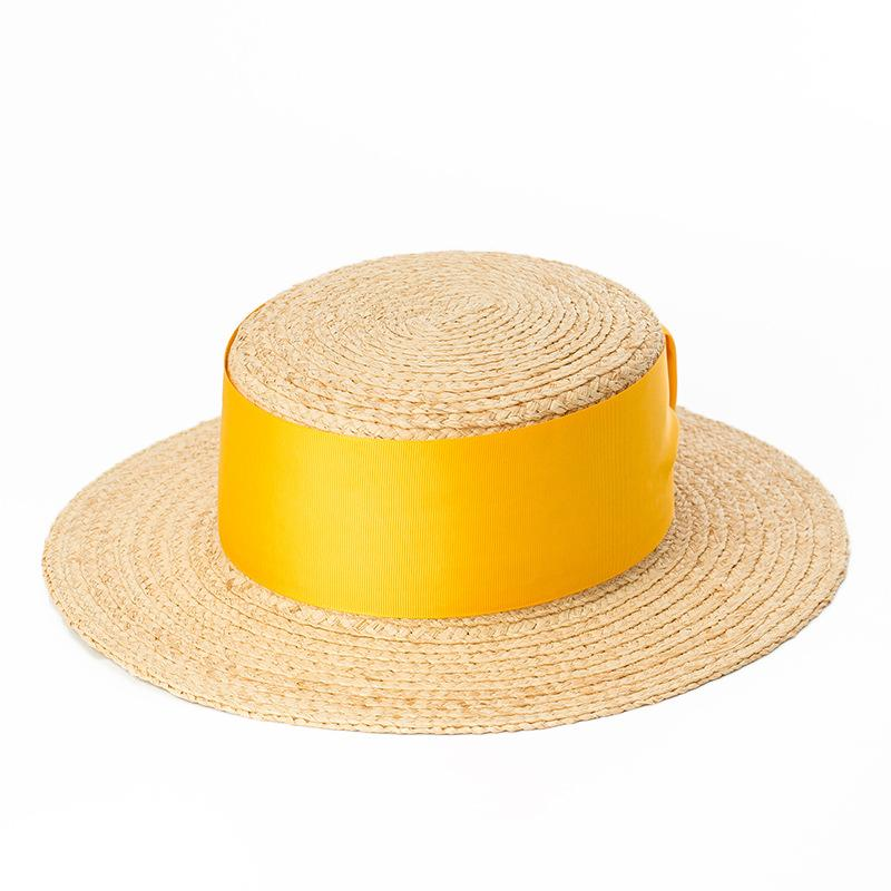Wide Yellow Ribbon Boater Hat - Marble Hive