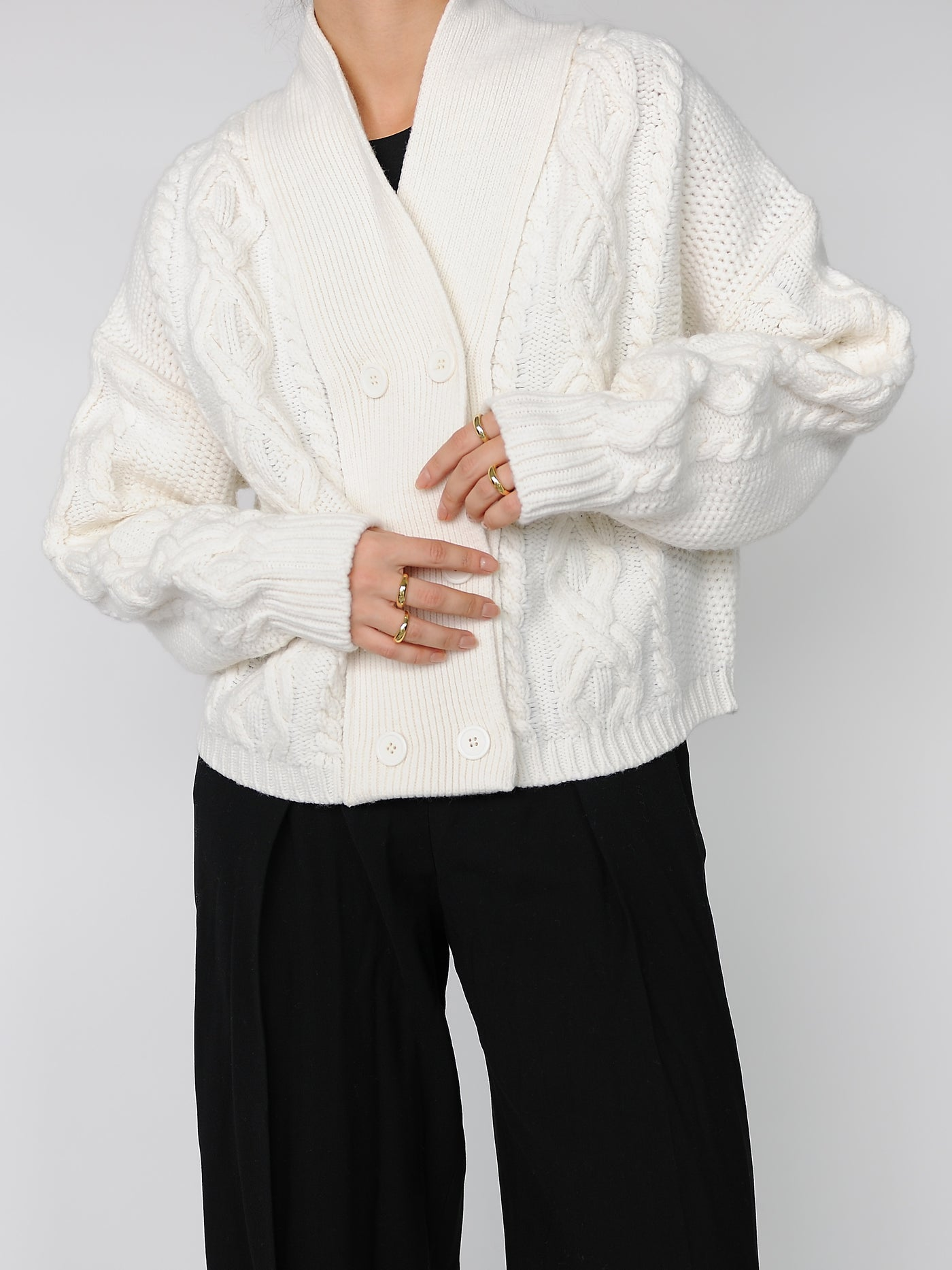Ivory Double Breasted Cardigan - Marble Hive