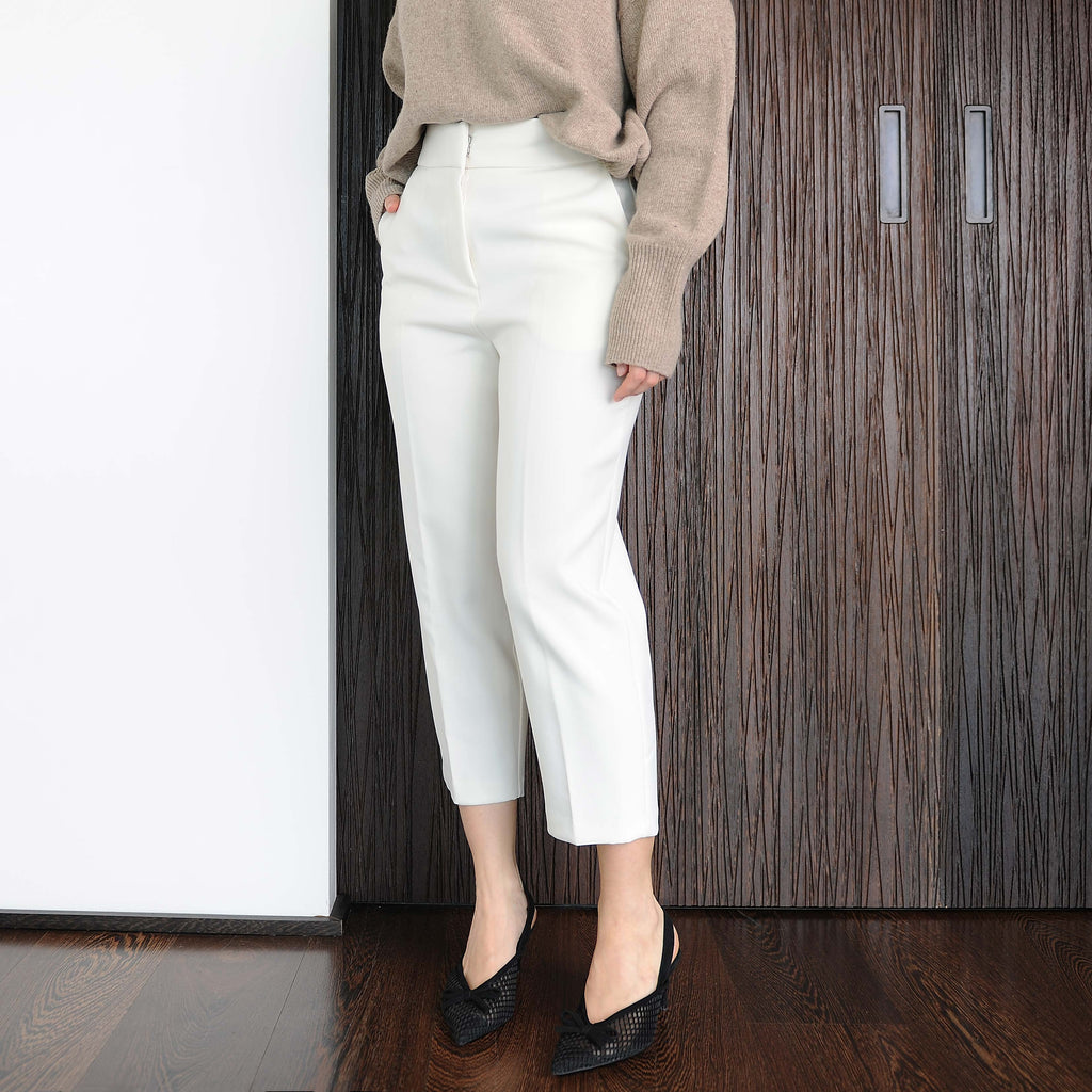 Ivory Tailored Cropped Pants - Marble Hive
