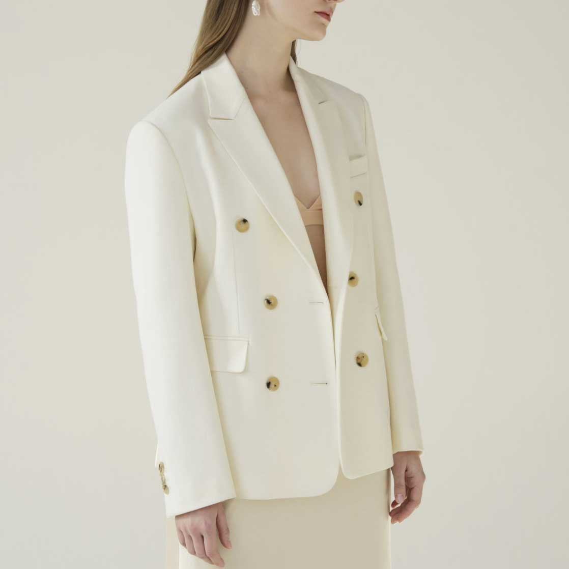 Ivory Marble Button Blazer - Marble Hive
