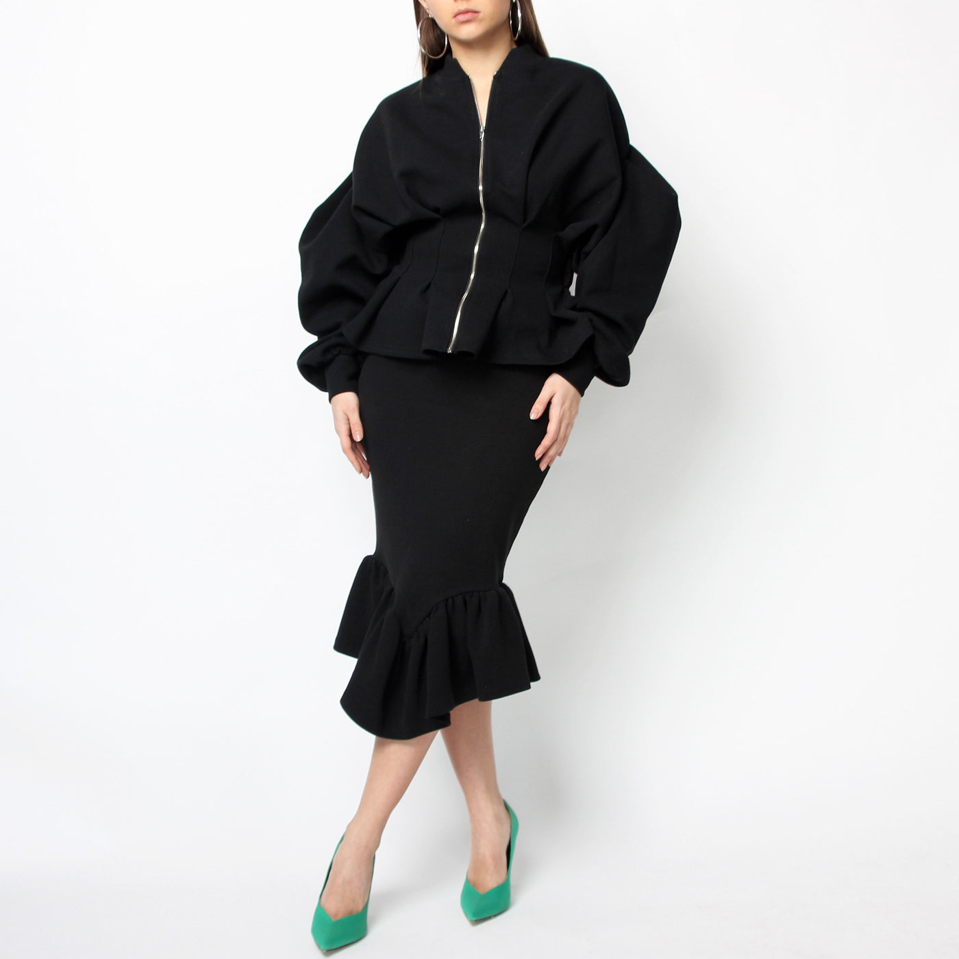 Black Volume Sleeve Jacket - Marble Hive