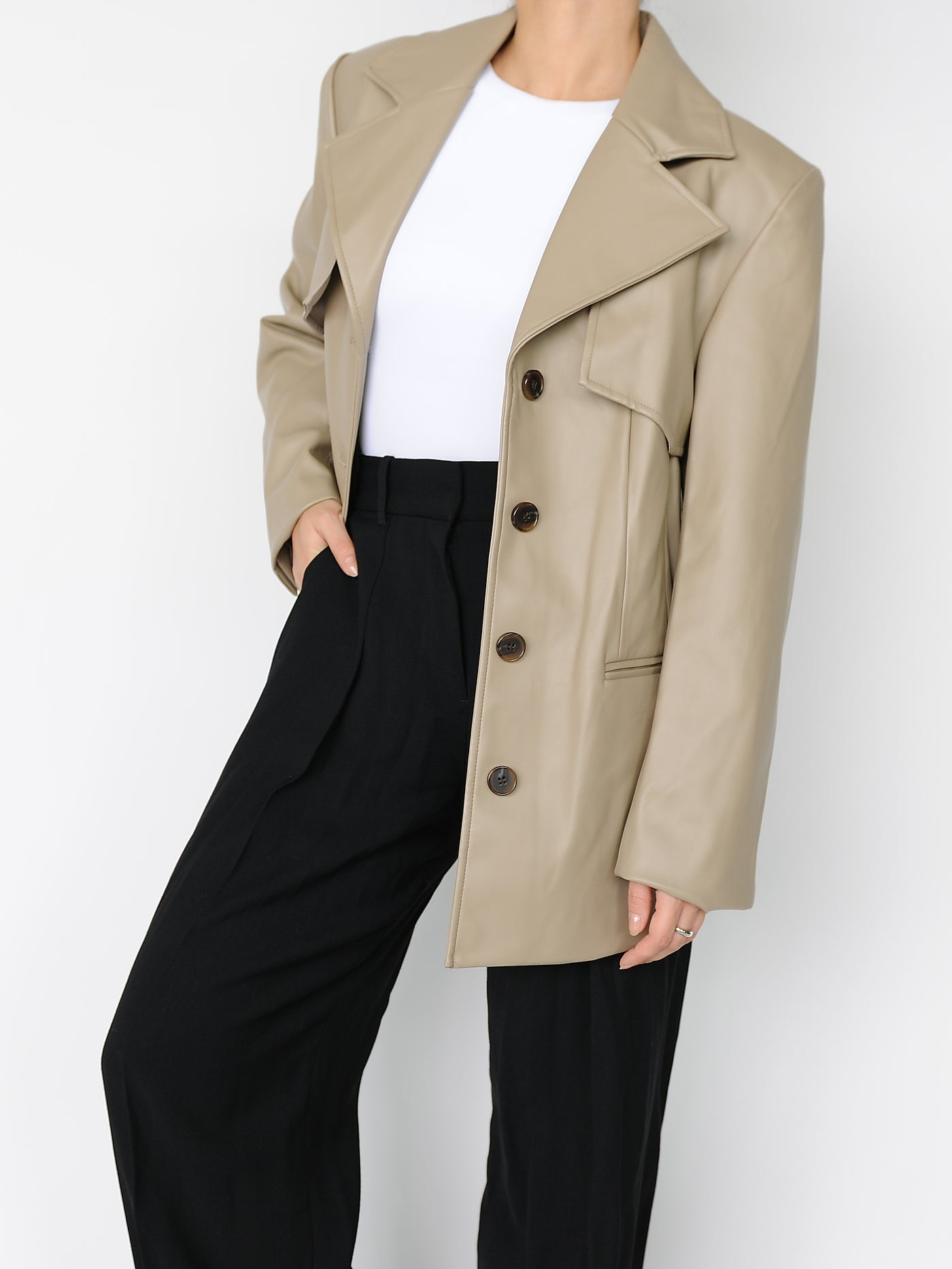 Beige Leather Blazer - Marble Hive