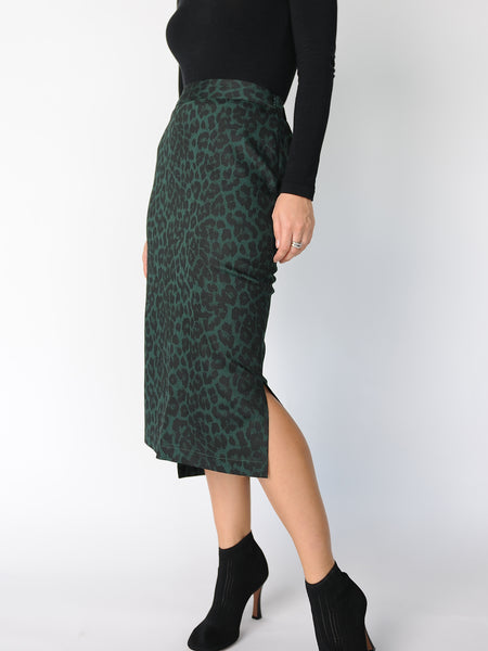 Green Leopard Print Pencil Skirt - Marble Hive