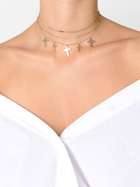 Multi Cross Layered Necklace - Marble Hive