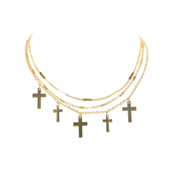 Multi Cross Layered Necklace