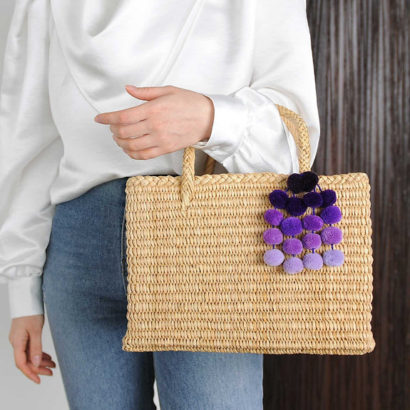 Maldives Bag With Purple Pom Pom - Marble Hive