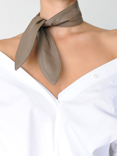 Beige Leather neck tie/scarf - Marble Hive