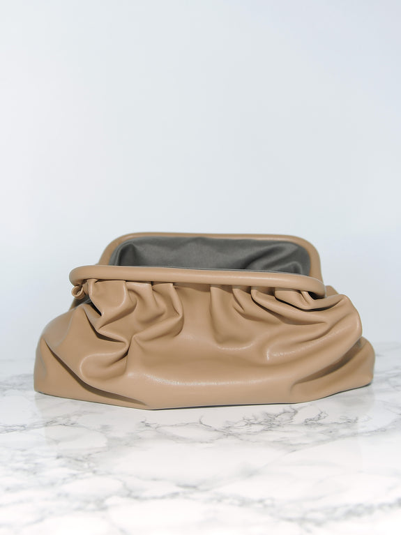 Camel Beige Leather Frame Clutch - Marble Hive