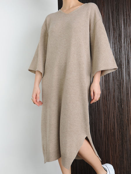Oversized Beige Knit Dress - Marble Hive