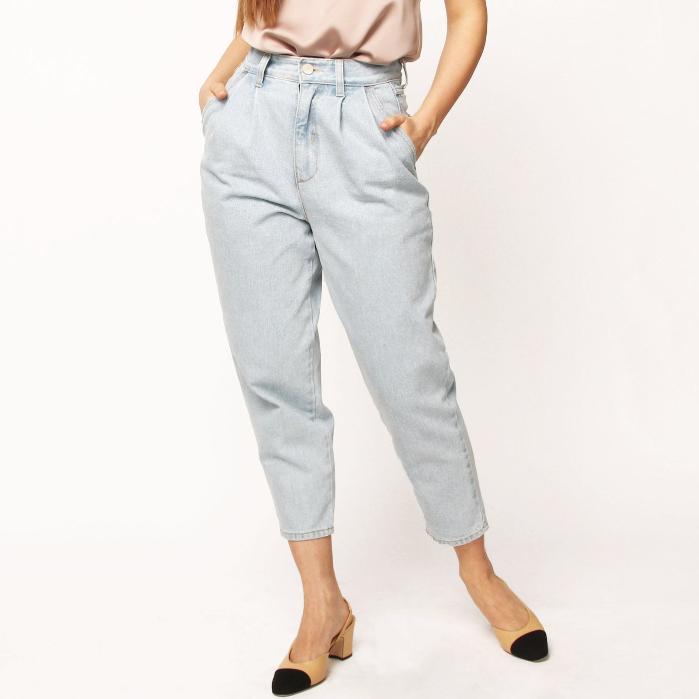 Light Blue Pleated Denim Pants - Marble Hive