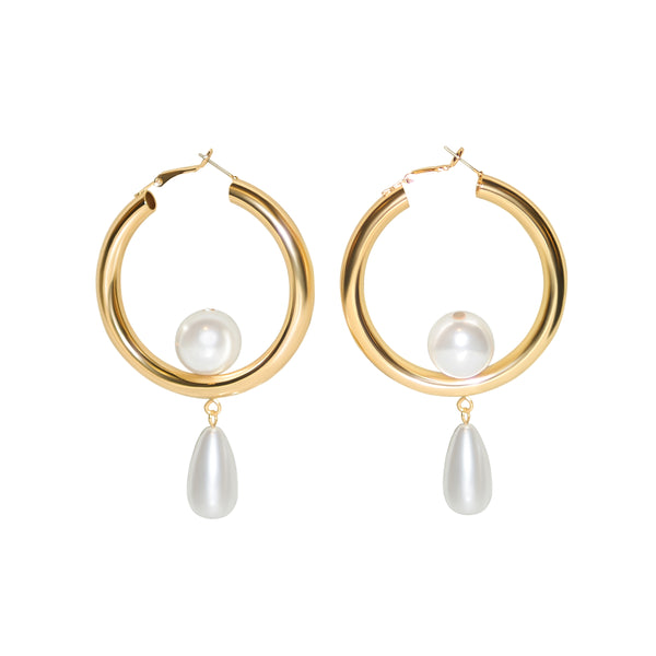 Original Pearl Hoop Earrings - Marble Hive