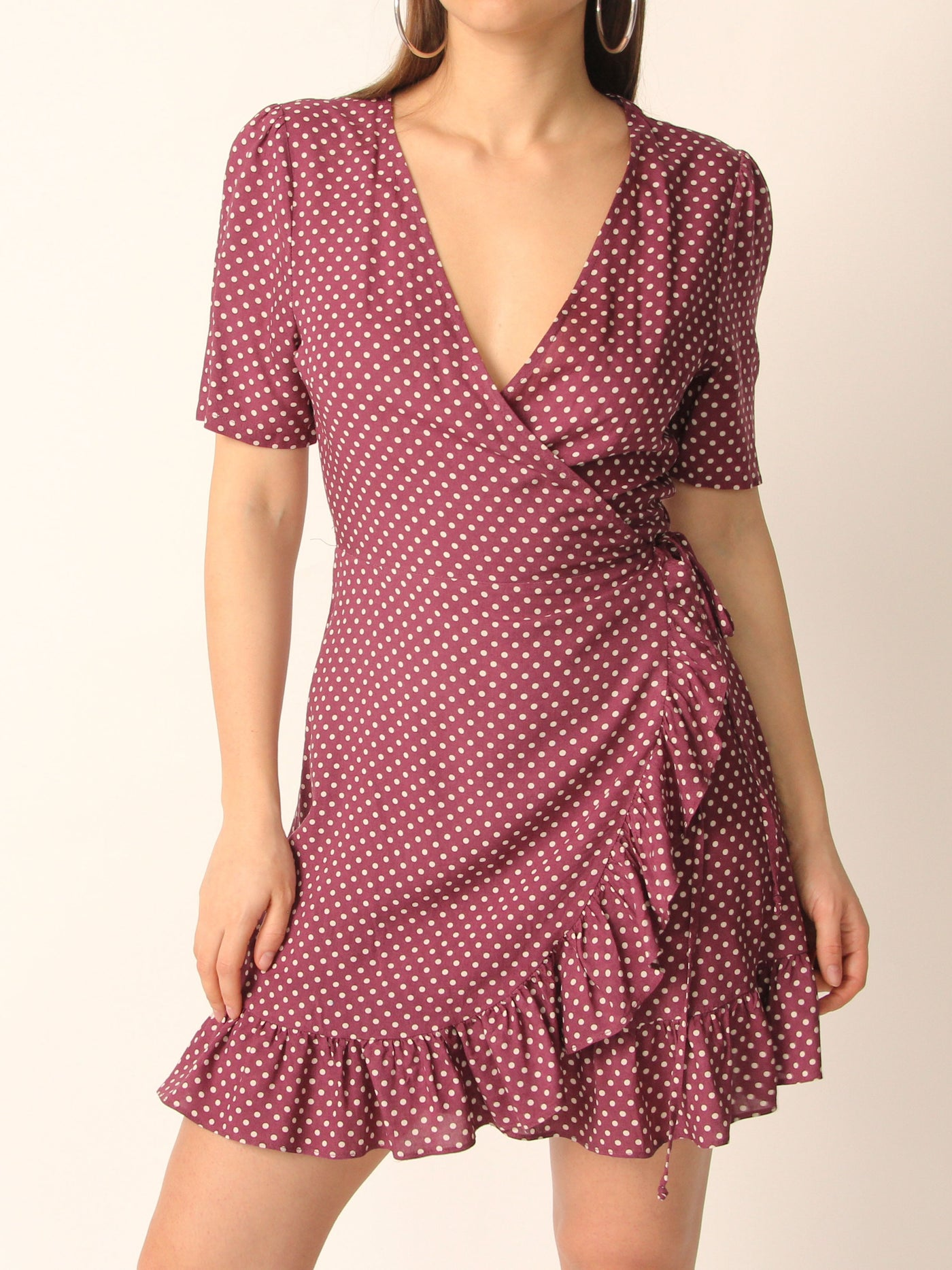 Berry Polka Dot Wrap Dress - Marble Hive