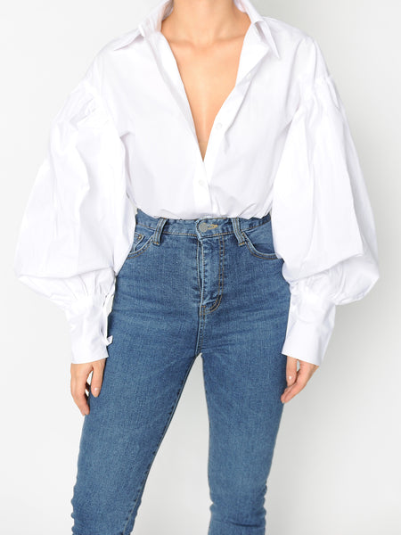 White Volume Sleeve Shirt - Marble Hive