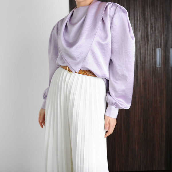Lilac Silky Scarf Collar Blouse - Marble Hive