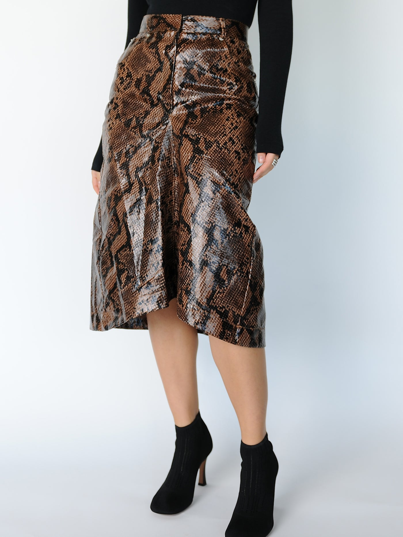 Brown Python Print Skirt