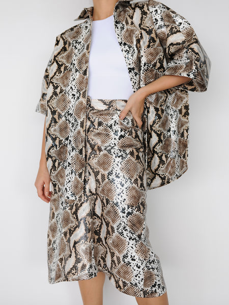 Beige Python Print Shirt - Marble Hive