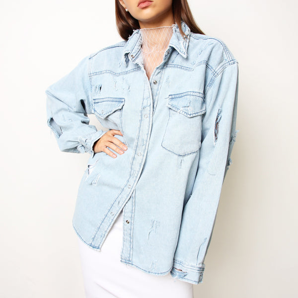 Ripped Denim Shirt - Marble Hive