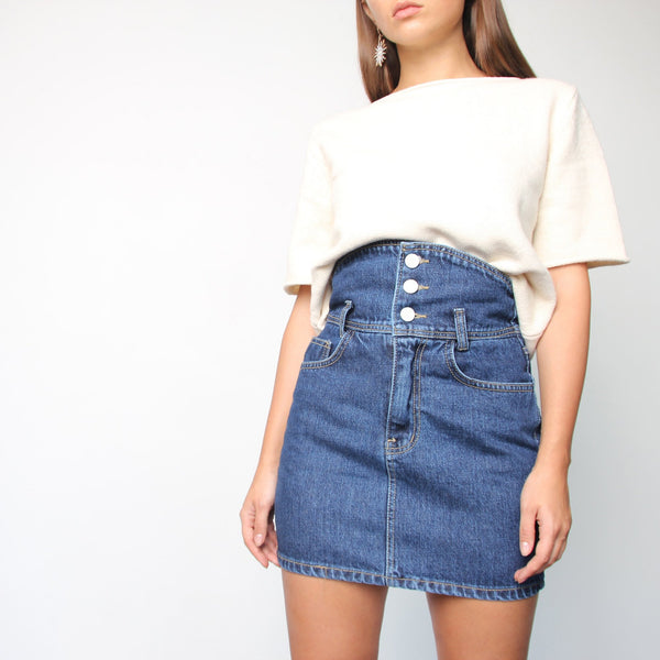 High Waist Denim Button Skirt - Marble Hive