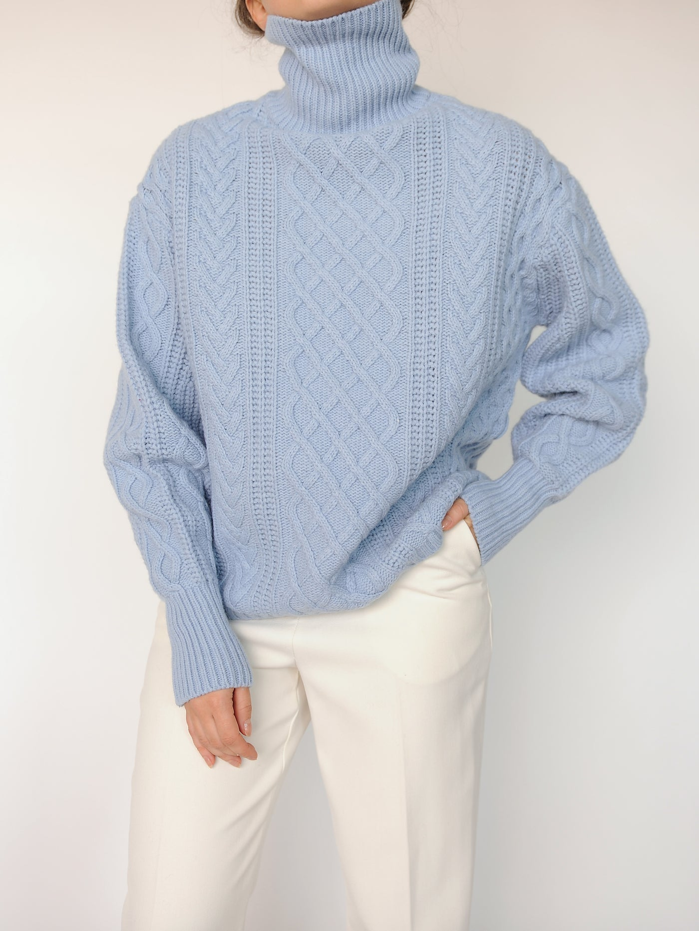 Sky Blue Turtleneck Sweater - Marble Hive
