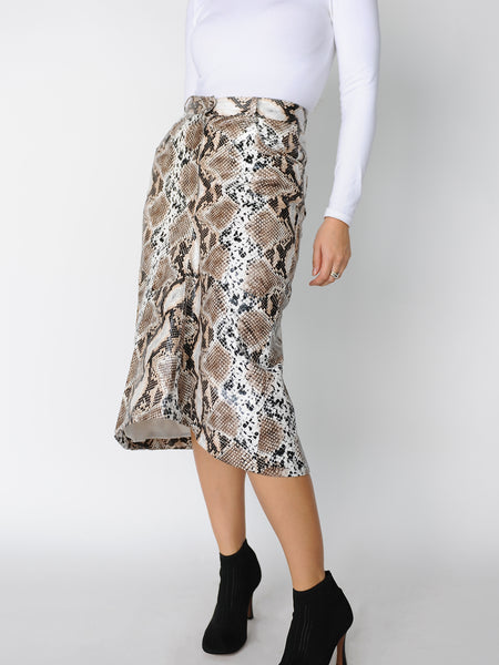 Beige Python Print Skirt - Marble Hive