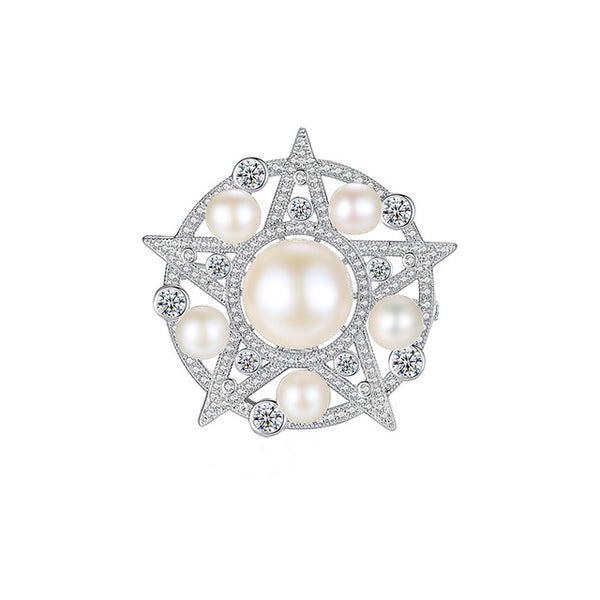 Crystal Pearl Star Brooch - Marble Hive