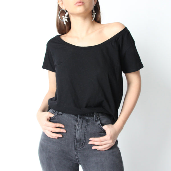 Black Off Shoulder T-shirt - Marble Hive