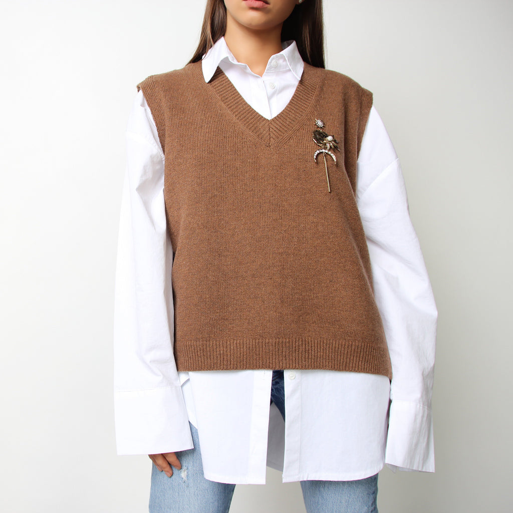 Brown Wool Knit Vest - Marble Hive