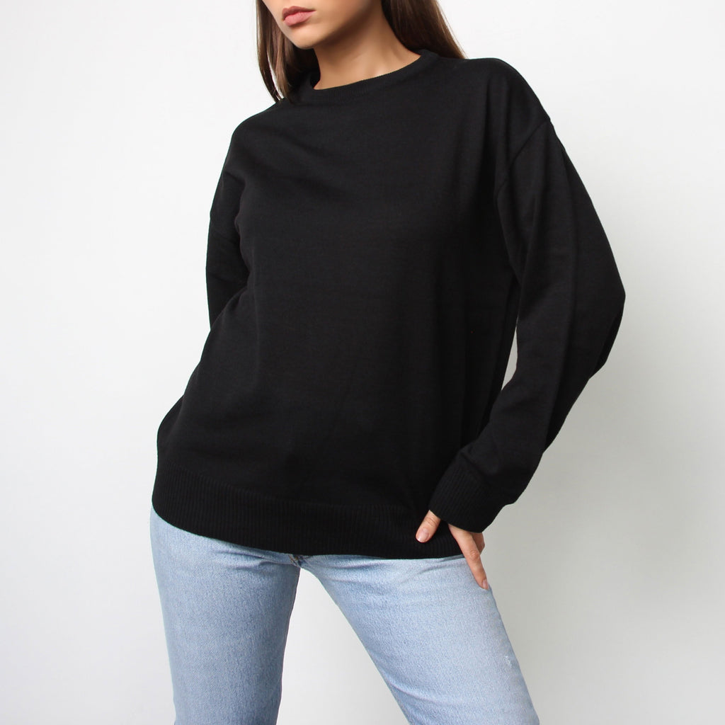 Black Long Sleeve Sweater - Marble Hive