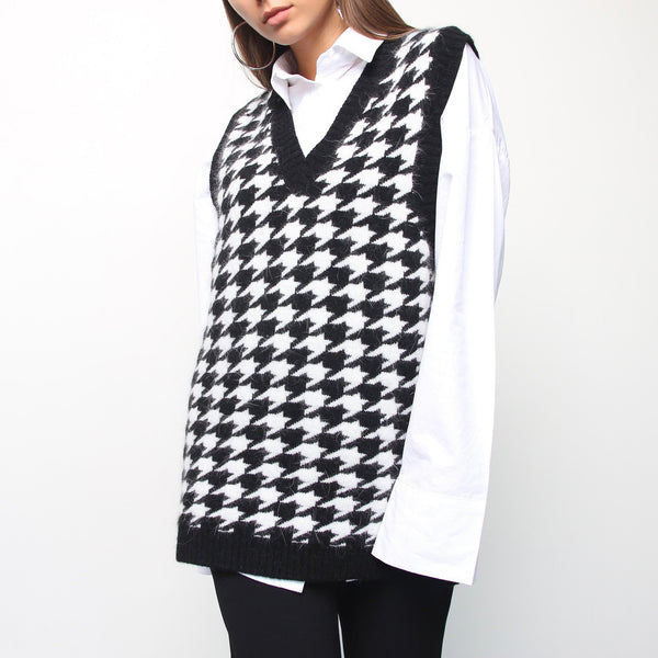Check Black and White Vest - Marble Hive