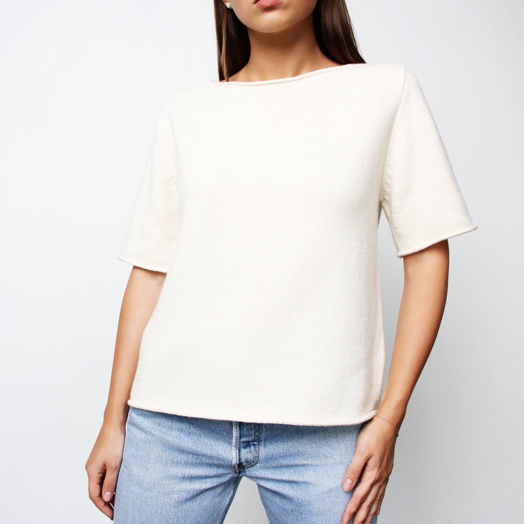 Ivory Short Sleeve Knit Top - Marble Hive