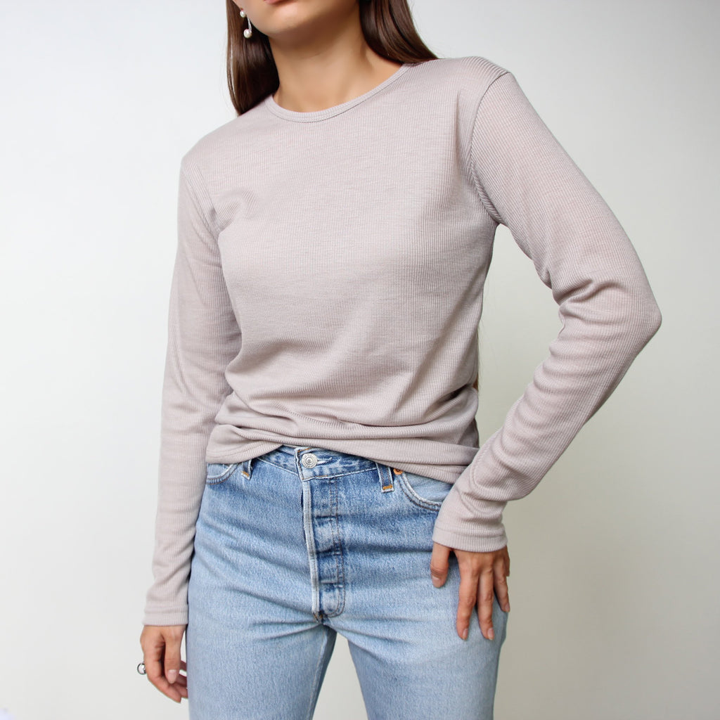 Long Sleeve Beige/Grey Top With Edge Details - Marble Hive