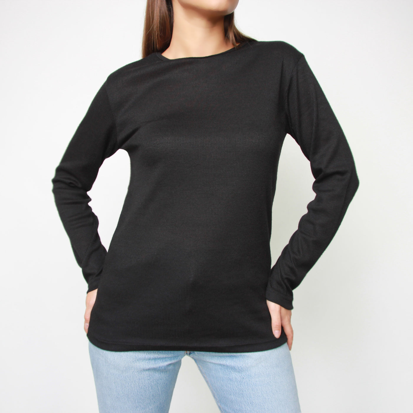 Black Long Sleeve Ribbed Top - Marble Hive