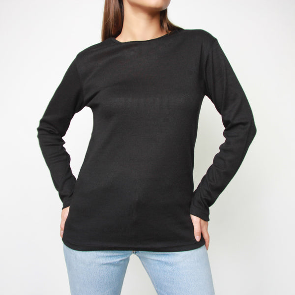 Long Sleeve Black Top With Edge Details - Marble Hive