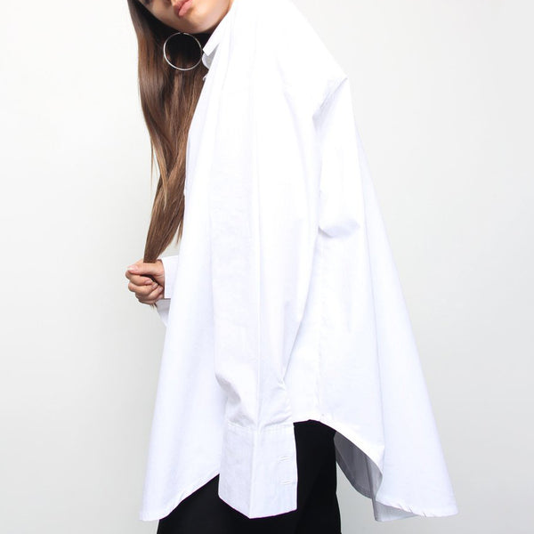 Oversized White Cotton Shirt - Marble Hive