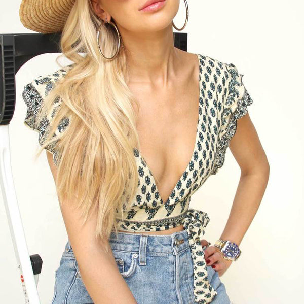 Print Wrap Crop Top - Marble Hive