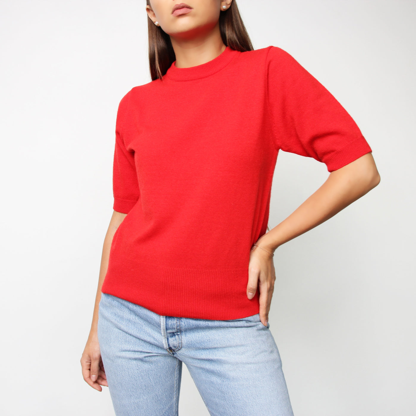 Red Short Sleeve Knit Top - Marble Hive
