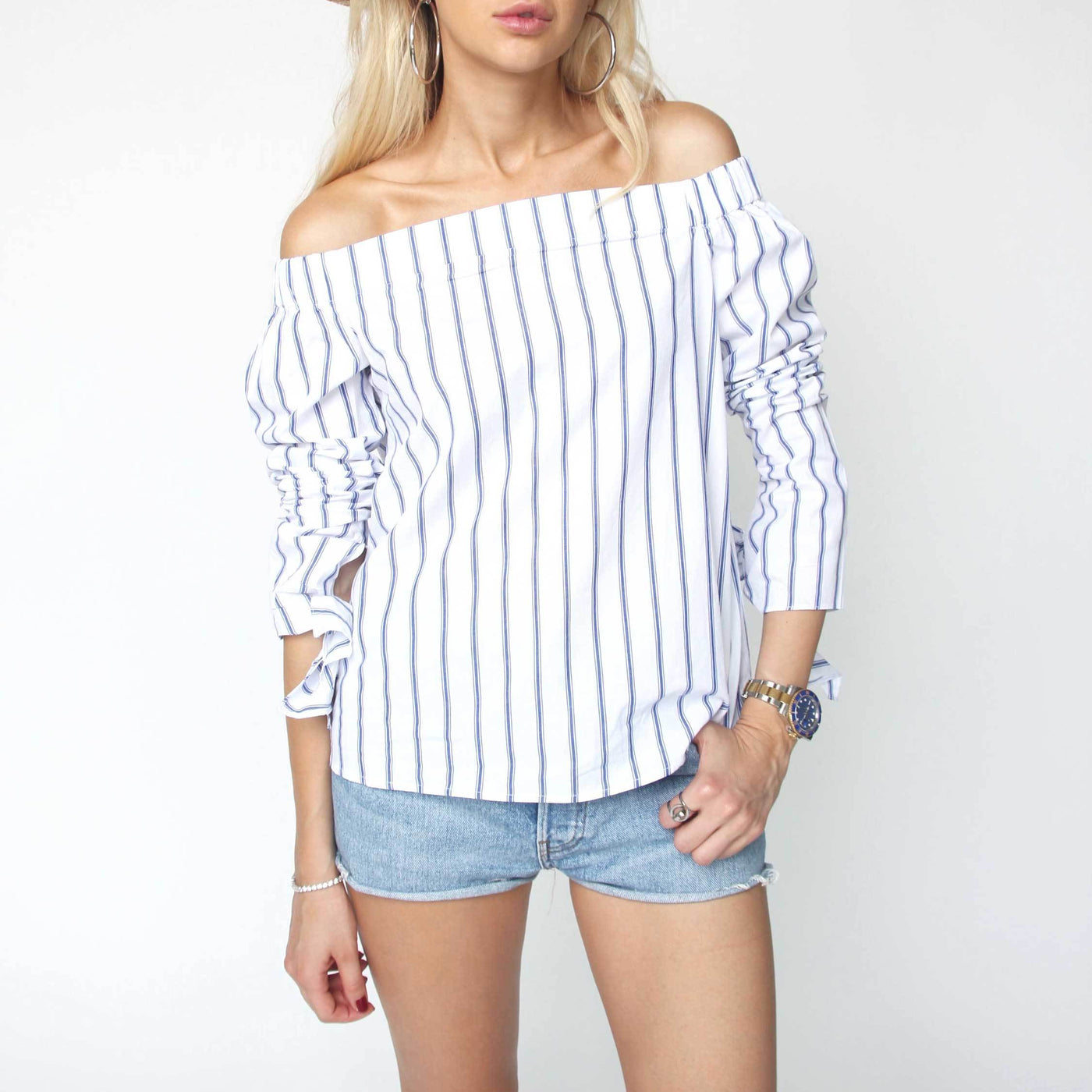 Striped Off Shoulder Shirt - Marble Hive