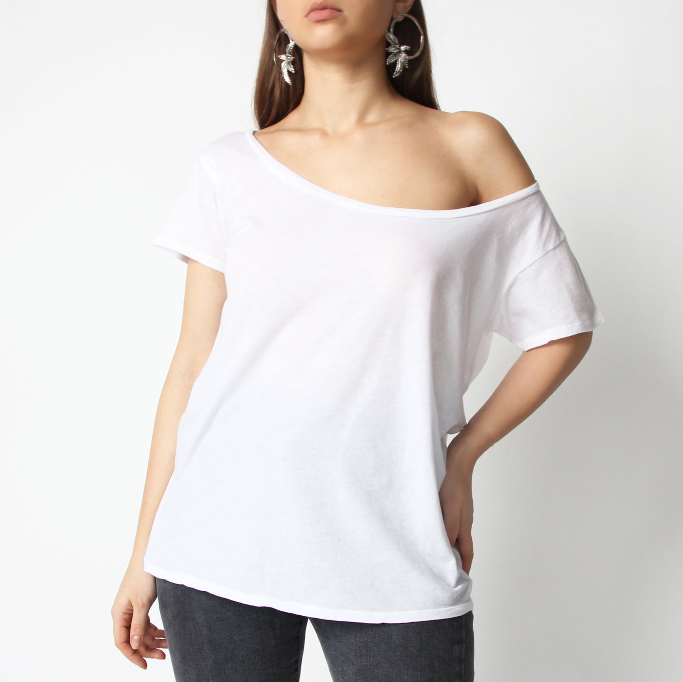 White Off Shoulder T-Shirt - Marble Hive