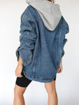 Denim Oversized Hoodie Jacket - Marble Hive