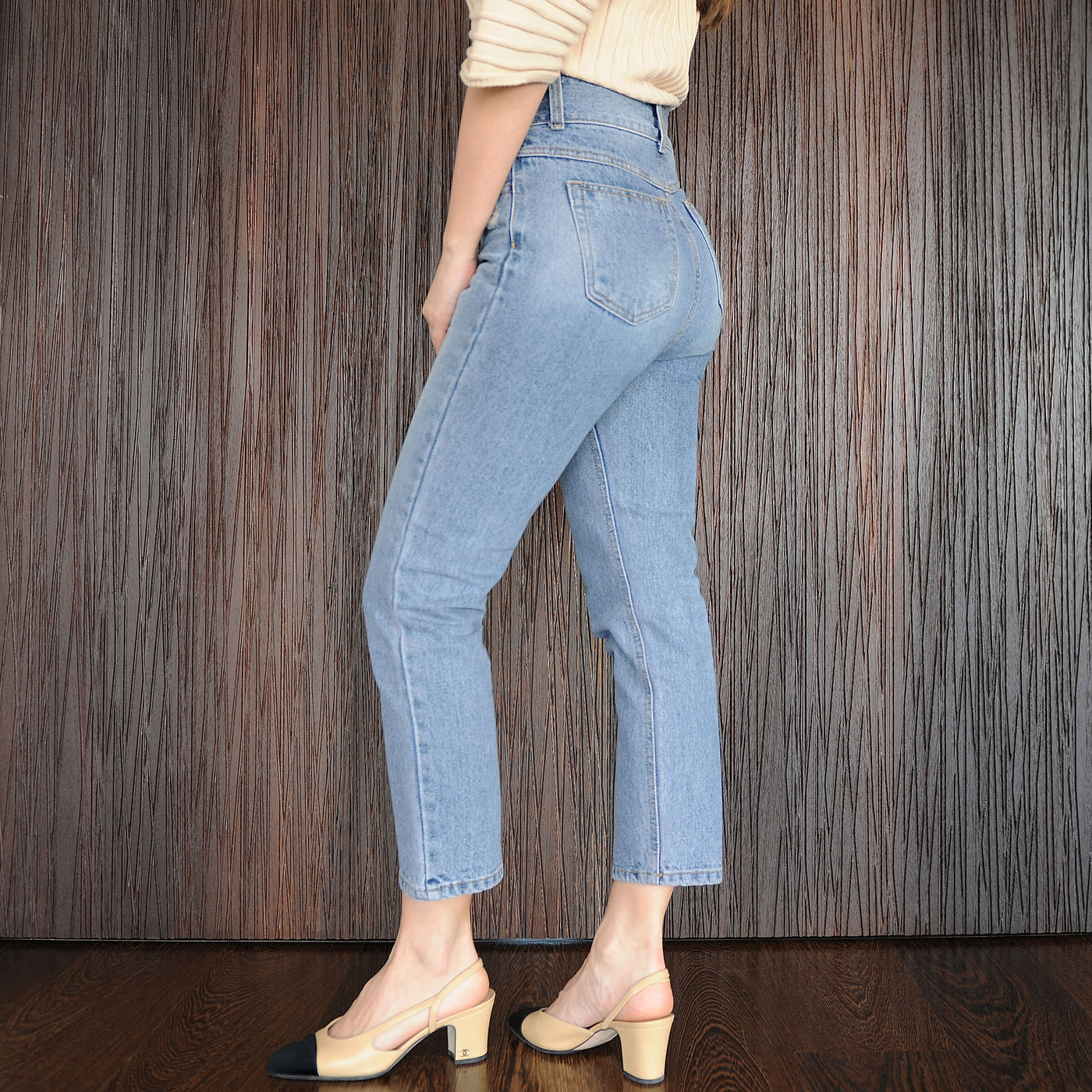 Vintage Inspired Denim High Waisted Pants - Marble Hive