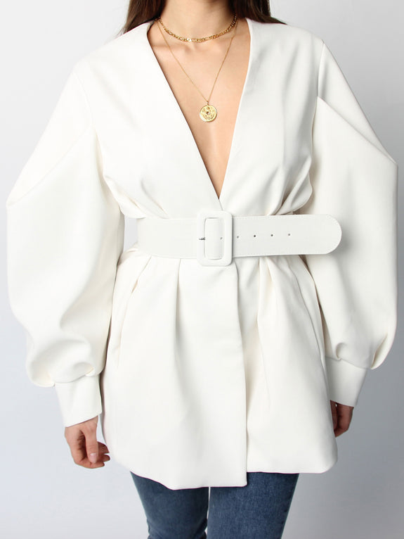 Ivory Puff Sleeve Belted Blazer - Marble Hive