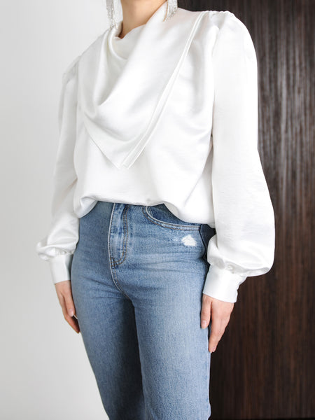 Ivory Silky Scarf Collar Blouse - Marble Hive