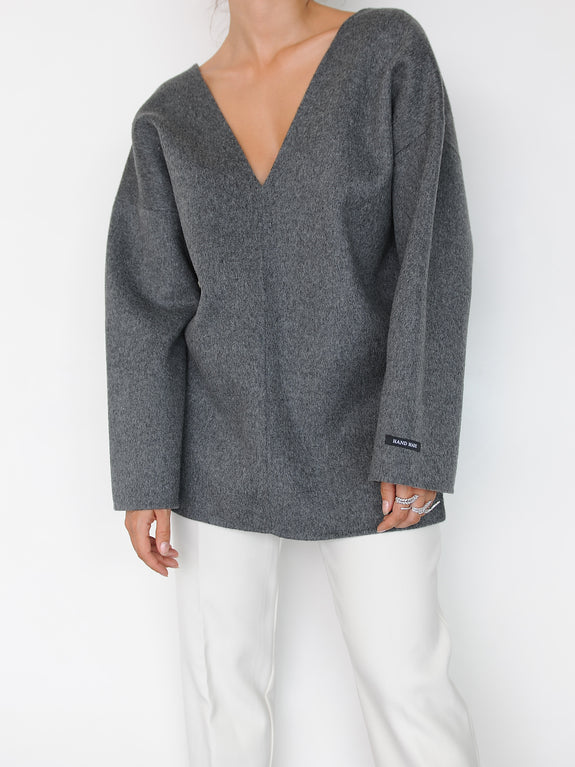 Grey Wool V-neck Top - Marble Hive