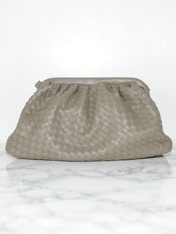 Olive Leather Frame Clutch - Marble Hive